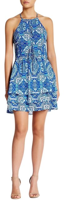 Parker Print Sleeveless Strappy Lined Ruffle Dress Image 0