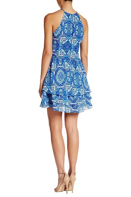 Parker Print Sleeveless Strappy Lined Ruffle Dress Image 5