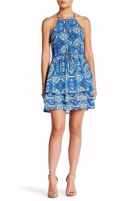 Parker Print Sleeveless Strappy Lined Ruffle Dress Image 6
