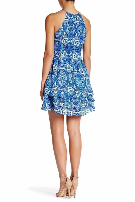 Parker Print Sleeveless Strappy Lined Ruffle Dress Image 7