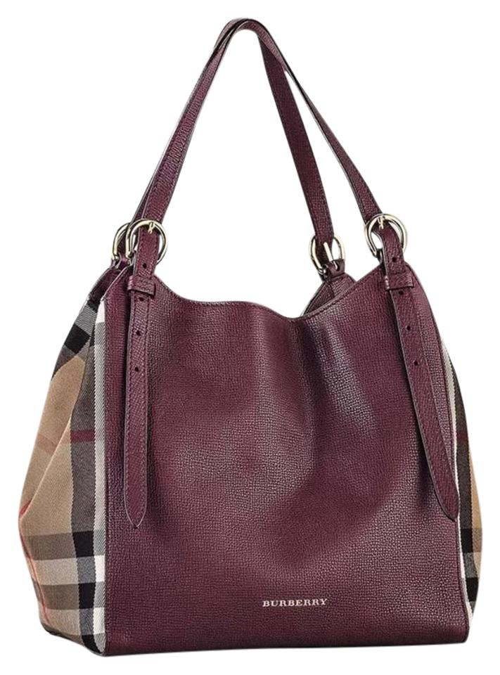 meet new release save up to 80% Burberry Canterbury Burgundy House Check Red Leather Tote 20% off retail