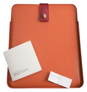 Alexander McQueen Crystal Skull Orange Red Colorblock Leather iPad Tablet Tech Case