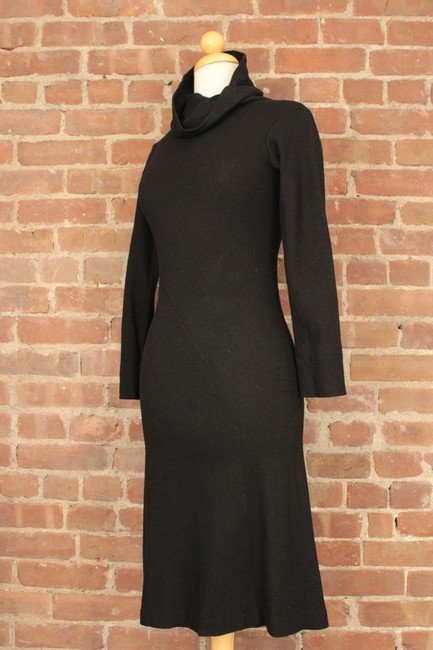 Jil Sander Collaboration Bias Cut Cowlneck Wool Fitted Dress Image 1