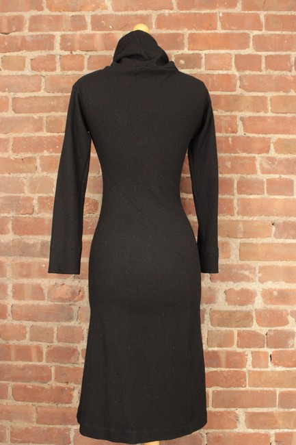 Jil Sander Collaboration Bias Cut Cowlneck Wool Fitted Dress Image 3