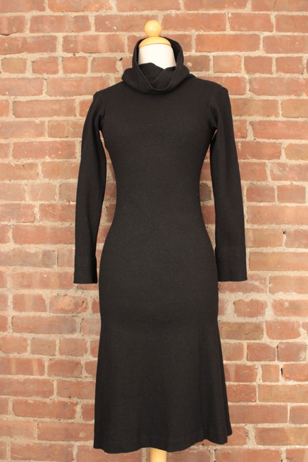 Jil Sander Collaboration Bias Cut Cowlneck Wool Fitted Dress Image 4