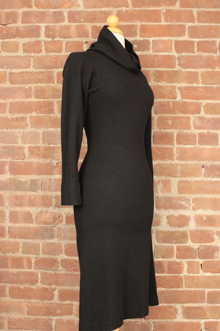Jil Sander Collaboration Bias Cut Cowlneck Wool Fitted Dress Image 6