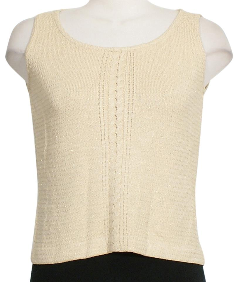 6dcc978157800 St. John Light Gold Shimmer Textured Wool Knit Cable Accent Sleeveless  Shell M Tank Top Cami. Size  8 ...