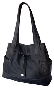 Tignanello Shopper Pockets Carryall Leather Tote in Black and brown