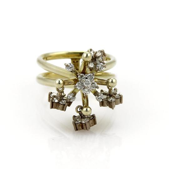 Other Vintage 1.00ct Diamond 14k Two Tone Gold Moveable Chandelier Ring Image 5