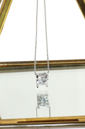 Ocean Fashion Single crystal silver necklace earrings set Image 3