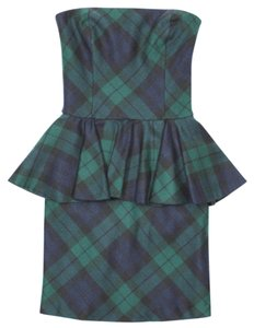 Rugby Ralph Lauren Plaid Strapless Corset Peplum Wool Dress
