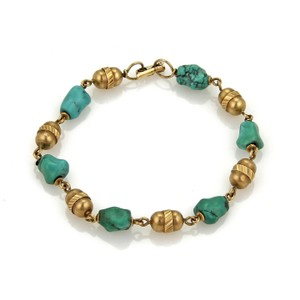 Other Vintage 18k Yellow Gold Turquoise Nugget & Tube Link Bra