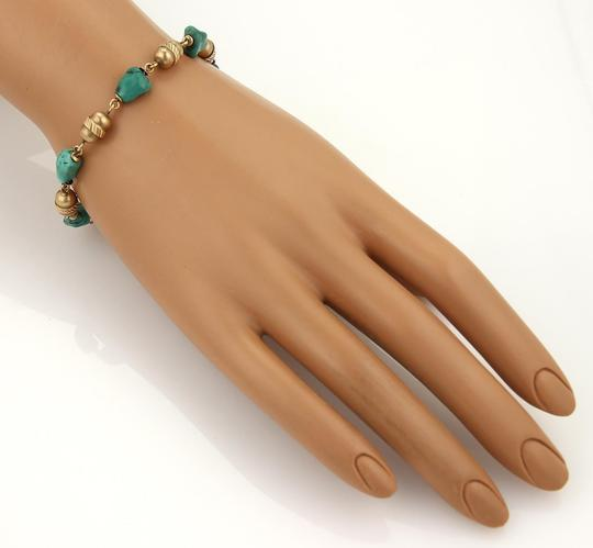 Other Vintage 18k Yellow Gold Turquoise Nugget & Tube Link Bra Image 1