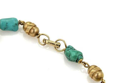Other Vintage 18k Yellow Gold Turquoise Nugget & Tube Link Bra Image 2