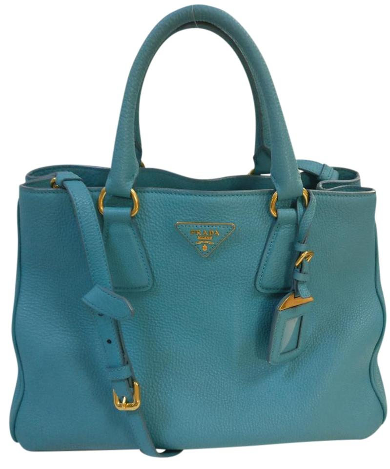 6e41920f3525 Prada Vitello Daino Cross Body Satchel Aqua Blue Leather Tote - Tradesy