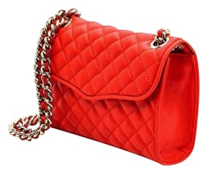 Rebecca Minkoff Leather Quilted Gold Chain Cross Body Bag