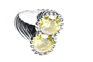 King Baby Studio TWISTED PATTERN RING WITH DOUBLE 10MM Yellow CZ K20-5929-8