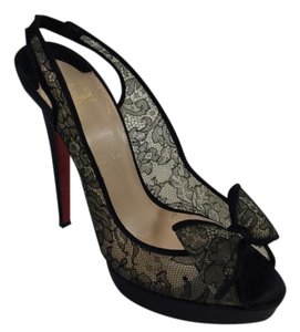 Christian Louboutin Bow Lace Satin Peep Toe Black Pumps