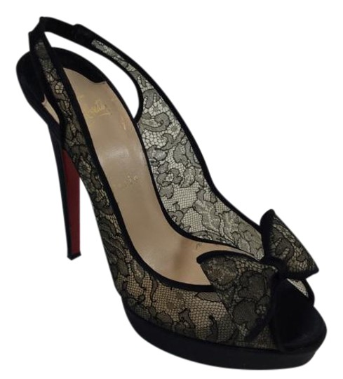 Christian Louboutin Bow Lace Satin Peep Toe Slingback Black Pumps