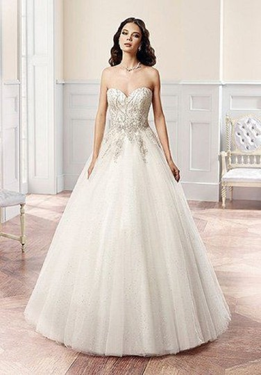 Eddy K Ivory/Silver Tulle Ct126 Formal Wedding Dress Size 6 (S) Image 1