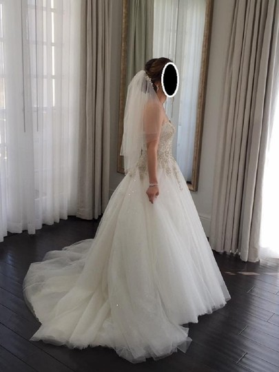 Eddy K Ivory/Silver Tulle Ct126 Formal Wedding Dress Size 6 (S) Image 5