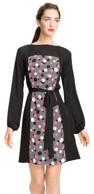 Milly Black Pink White Deco Dots Print Fit Flare X Small