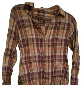 James Perse Button Down Shirt Plum, Pink, Brown