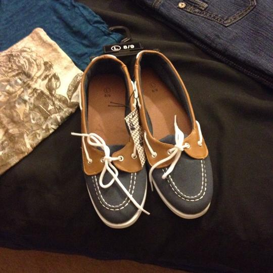 The Ladies Moc Toe canvas Blue Boat Shoes Blue/Cambray Flats Image 1