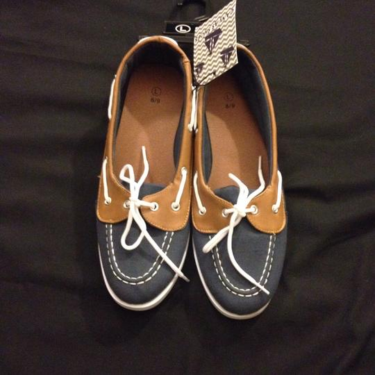 The Ladies Moc Toe canvas Blue Boat Shoes Blue/Cambray Flats Image 4