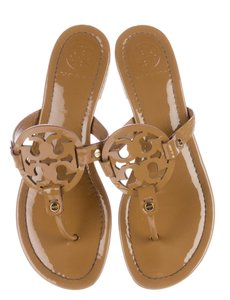 Tory Burch Miller Reva Logo Patent Leather Gold Hardware Brown, Beige Sandals