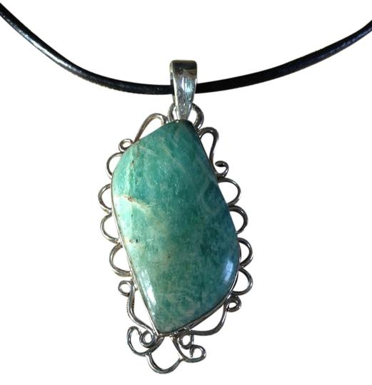 Other New Amazonite Gemstone Pendant Necklace in Sterling Silver setting 20""