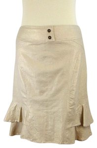 Cache Metallic Stretchy Gold Ruffle Skirt Beige