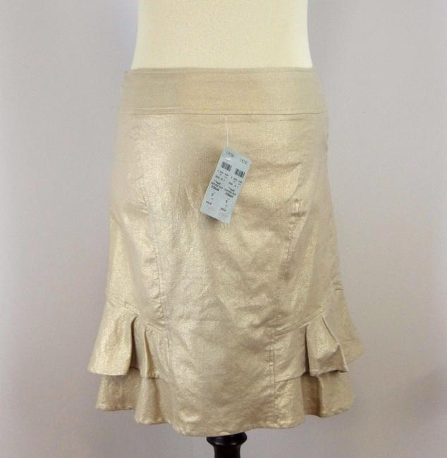Cache Metallic Stretchy Gold Ruffle Skirt Beige Image 1