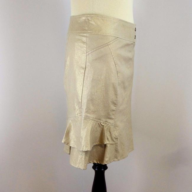 Cache Metallic Stretchy Gold Ruffle Skirt Beige Image 2