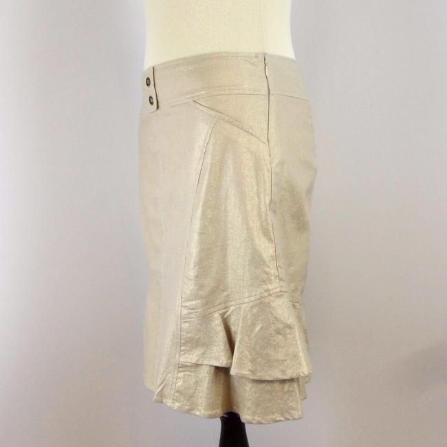 Cache Metallic Stretchy Gold Ruffle Skirt Beige Image 3