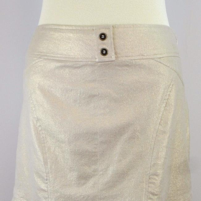 Cache Metallic Stretchy Gold Ruffle Skirt Beige Image 6