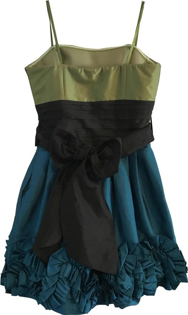 Item - Multi (Olive Green Black and Teal) Boutique Collection Mid-length Formal Dress Size 6 (S)