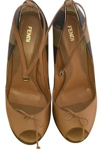 Fendi brown and beige Wedges