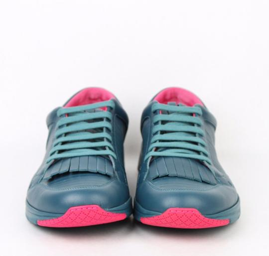 Gucci Teal Pink Contrast Leather Fringe Sneakers 11.5g / Us 12.5 368482 4418 Shoes Image 2