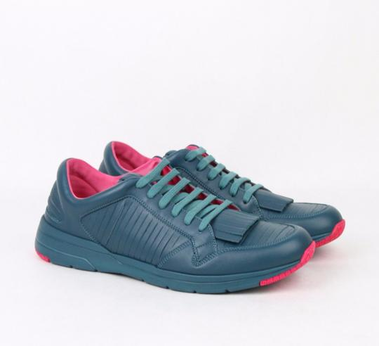 Gucci Teal Pink Contrast Leather Fringe Sneakers 11.5g / Us 12.5 368482 4418 Shoes Image 3