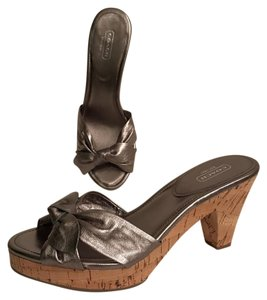 Coach Leather New Metallic Cork Silver Pewter Sandals