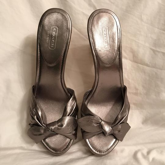 Coach Leather New Metallic Cork Silver Pewter Sandals Image 1