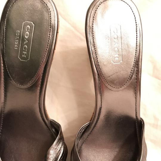 Coach Leather New Metallic Cork Silver Pewter Sandals Image 2