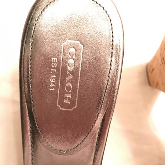 Coach Leather New Metallic Cork Silver Pewter Sandals Image 3