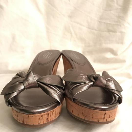 Coach Leather New Metallic Cork Silver Pewter Sandals Image 4