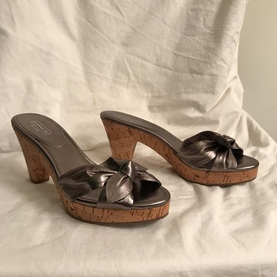 Coach Leather New Metallic Cork Silver Pewter Sandals Image 5