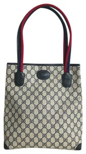 Gucci Vintage Navy Canvas Tote in Blue