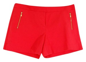 Laundry by Shelli Segal Gold Hardware Zipper Flattering Flat Front Besom Pockets Mini/Short Shorts Red