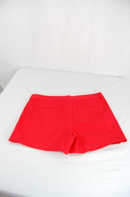 Laundry by Shelli Segal Gold Hardware Zipper Flattering Flat Front Besom Pockets Mini/Short Shorts Red Image 2