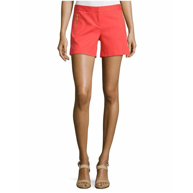 Laundry by Shelli Segal Gold Hardware Zipper Flattering Flat Front Besom Pockets Mini/Short Shorts Red Image 5